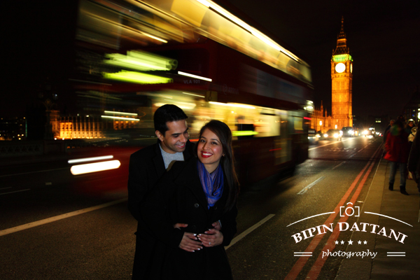 pre wedding photography london at Night near Big Ben