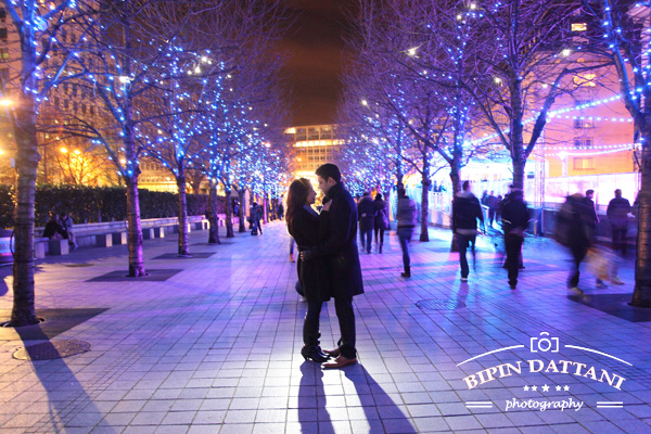 indian couple's pre wedding photography london at Night