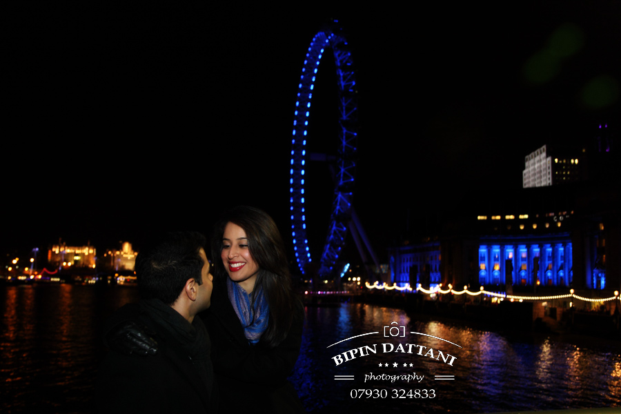 pre wedding image taken on Westminster Bridge and London Eye in the background near Park Plaza Hotel