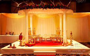 Jay & I events wedding decor and mandap at Hilton Wembley London -photographer Bipin Dattani