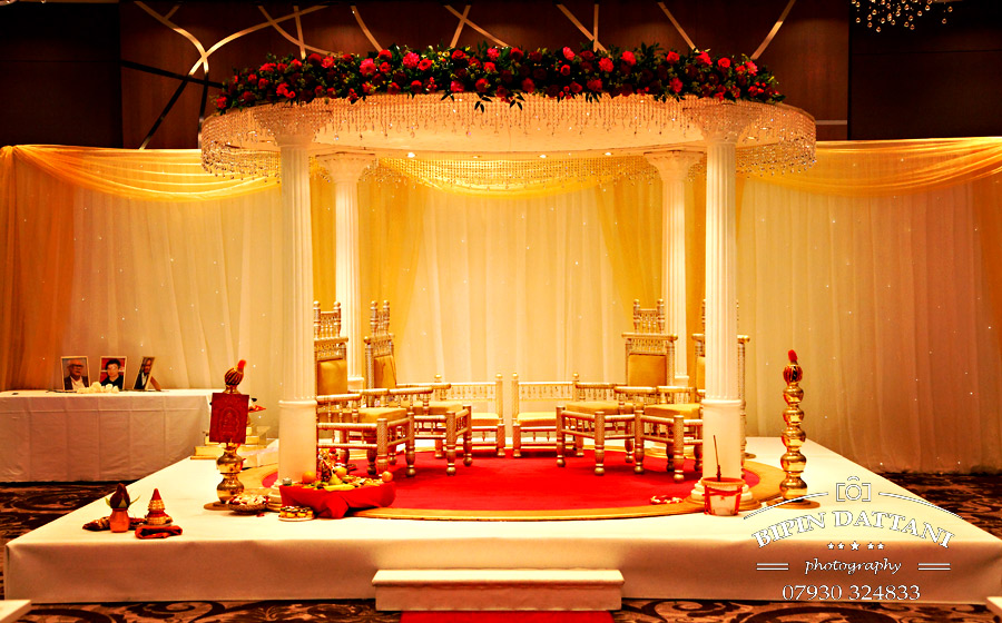 Jay & I events wedding decor and mandap at Hilton Wembley London -photographer Bipin Dattani