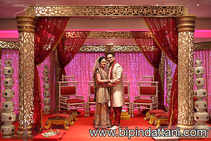 Couple portrait under the wedding stage at The VIP Lounge