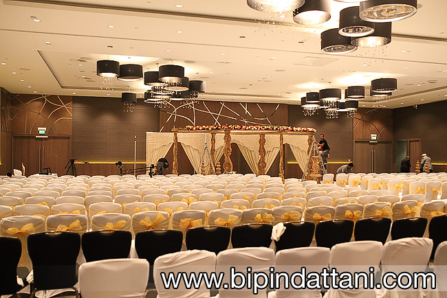 Gayatri Wedding and Events Mandaps setup at Wembley Hilton for Rakhee and Mihir's Indian Wedding