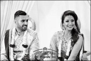 black and white wedding portrait vs color photos at hindu wedding