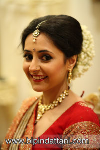 South Indian brides portrait before the hindu wedding ceremony at temple