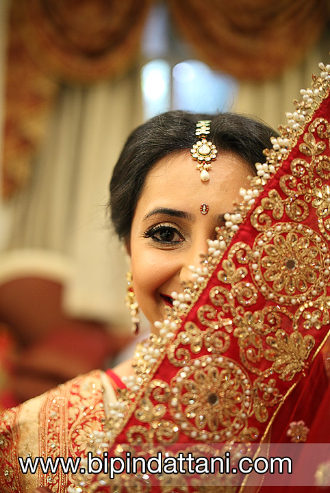 After Indian Bridal make-up image with wedding dress, by best photographer Bipin Dattani Photography