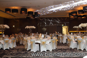 Wedding reception decoration at Wembley Hilton London