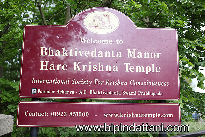 Entrance sign to ISKCON Bhaktivedanta Manor hare krishna temple watford