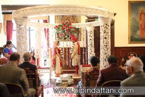 Khiloni & Amish saying marriage vow hare krishna temple wedding in mandap