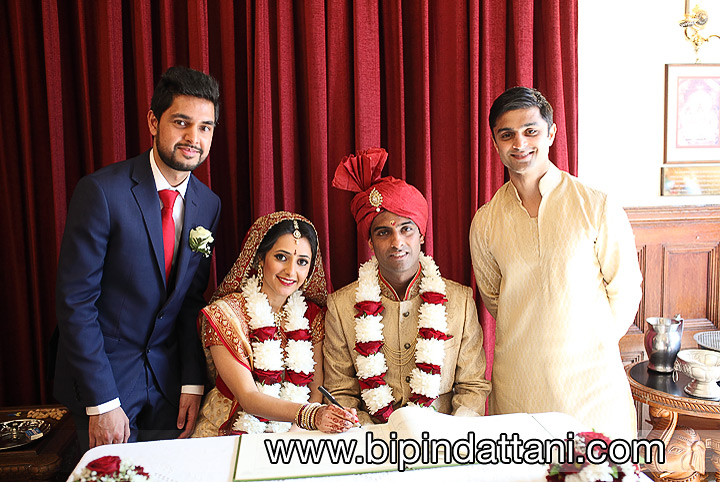 Registry wedding witnesses in hare krishna mandir in Watford
