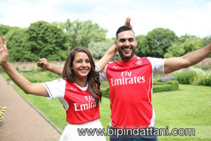 Couple in Arsenal Shirts winners of 2017 FA cup at Wembley London