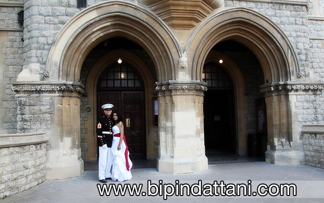 Couple outside Ealing Town Hall in London portraits
