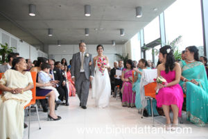 Indian father and bride aisle walk at brent civic centre