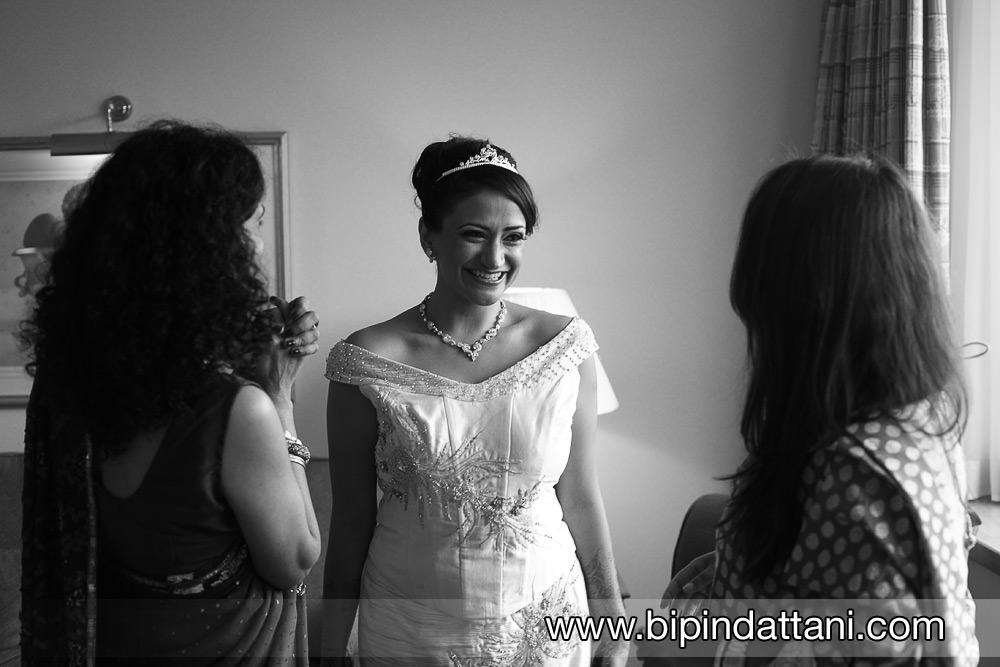 bride with friends before wedding