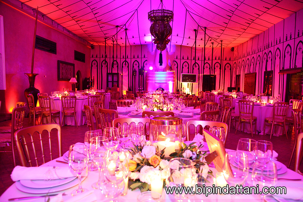 themed reception setup at LodgeK in Marrakech