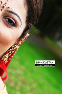 indian bride portrait with a fashion look for hindu wedding photography