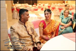 relaxed bride and groom talking after offical UK registry wedding