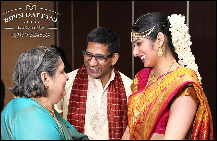 tamil bride with father and grandmother from Chennai for traditional tamil wedding