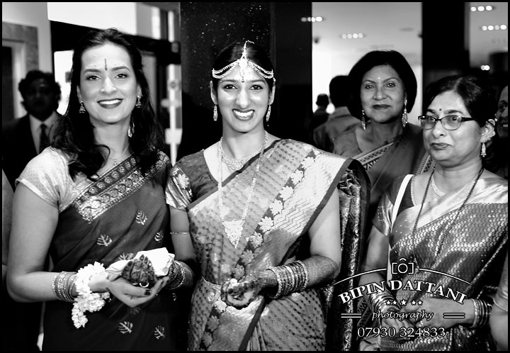 black & white of bride and mum for