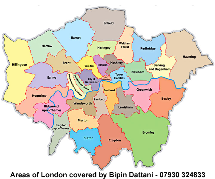 map of London and areas serviced by indian wedding photographer Bipin Dattani