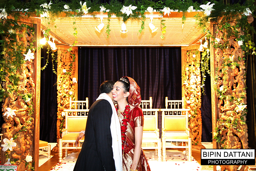 Indian couple portrait at Nina & Milan's  Hilton Park Lane wedding
