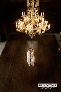 couples portrait at addington-palace wedding great hall
